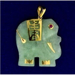 Jade Asian Elephant Pendant with Ruby