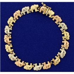 Rose, Yellow, and White Gold Elephant Bracelet