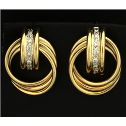 Diamond and Gold Rings Earrings