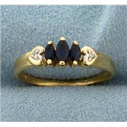 Natural Sapphire and Diamond Heart Ring