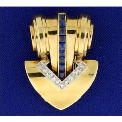 Cartier Vintage Sapphire and Diamond Pin Brooch