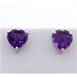 Large Amethyst Heart Stud Earrings