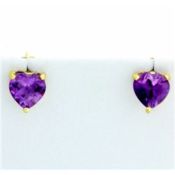 Heart Shaped Amethyst Stud Earrings