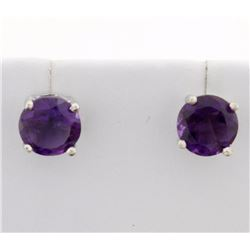 Large Round Amethyst Stud Earrings