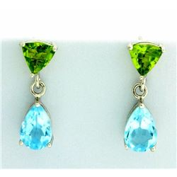 Blue Topaz and Peridot Dangle Earrings