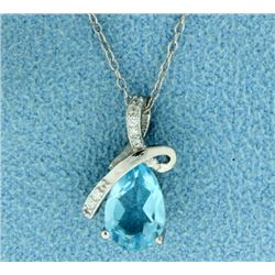 Blue Topaz with Diamond Pendant and Chain