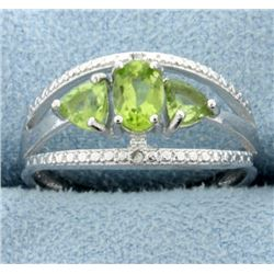 Three Stone Peridot Ring with Diamonds