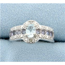 Aquamarine and Tanzanite Ring with Diamonds