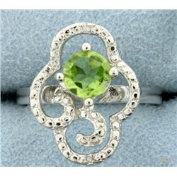 Large Peridot and Diamond Statement Ring