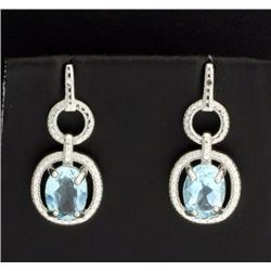 Sky Blue Topaz and Diamond Earrings