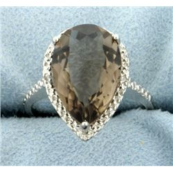 Large Smokey Quartz Ring with Diamonds