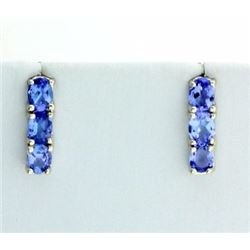 Three Stone Tanzanite earrings