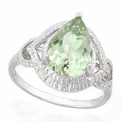 Green Amethyst Statement Ring with Diamonds in Sterling Silver