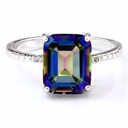 Ocean Mystic Blue Topaz 3CT Ring with Diamond in Sterling Silver