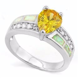 Pear Cut 3CT Lab Yellow Sapphire with Fire Opal in Sterling Silver