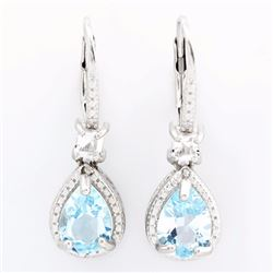 Blue Topaz 2.2CTW Dangle Earrings in Sterling Silver