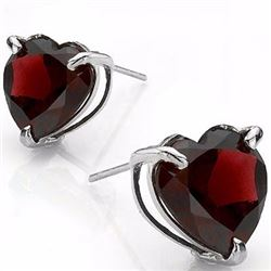 Garnet Heart Stud Earrings 6MM in Sterling Silver