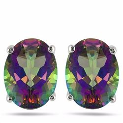 Mystic Topaz Oval Cut Stud Earrings 4x6MM in Sterling Silver