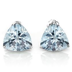 Aquamarine Trillion Cut Stud Earrings 5MM in Sterling Silver
