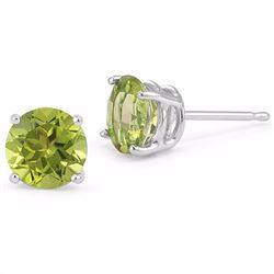 Peridot Stud Earrings 6MM in Sterling Silver
