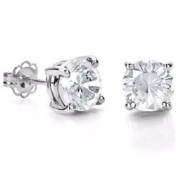 White Topaz 2CT TW Stud Earrings 6MM in Sterling Silver