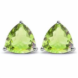 Peridot Trillion Cut Stud Earrings 6MM in Sterling Silver