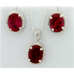 Lab Ruby Oval Cut 7x9MM Earring and Pendant Vintage Style SET with Diamonds in Sterling Silver