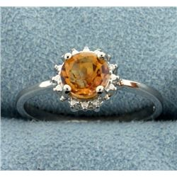 Citrine Sunburst Ring in Sterling Silver