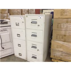 BEIGE 4 DRAWER FIRE PROOF FILE CABINET WITH KEYS