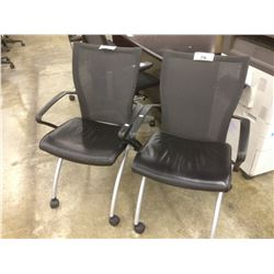 HAWORTH X99 MESH BACK LEATHER MOBILE NESTING CHAIR