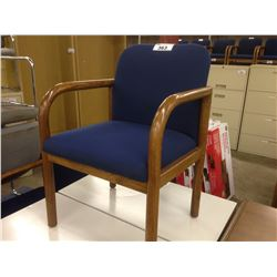 KRUG BLUE SOLID OAK FRAMED CLIENT CHAIR