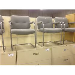 LOT OF 8 GREY CHROME FRAMED CLIENT CHAIRS