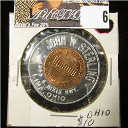 "1964 Gem BU Encased Cent, ""Keep me and never go broke"", ""John W. Sterling…Lima, Ohio"""