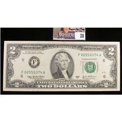 Series 2003A Two Dollar Federal Reserve Note. Nearly CU.
