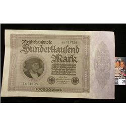 1923 German 100,000 Mark Bank Note, Near Uncirculated.