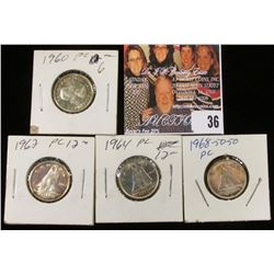 1960, 62, 64, & 68 Canada Silver Dimes, all either BU or Prooflike.