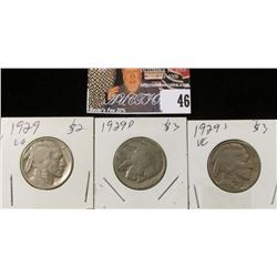 1929 P, D, & S Buffalo Nickels. VG.