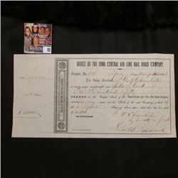 "Dec. 20, 1858 ""Office of the Iowa Central Air line Rail Road Company 150 Shares signed by famous att"
