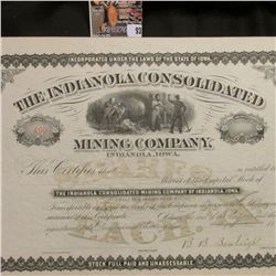 "Stock Certificate # 499 ""The Indianola Consolidated Mining Company, Indianola, Iowa"", signed by B.B."