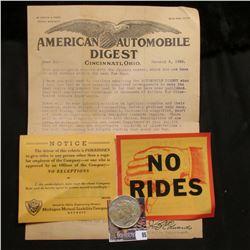 "January 2, 1924 ""American Automobile Digest"", Cicinatti, Ohio; & 1925 P U.S. Peace Silver Dollar, VF"