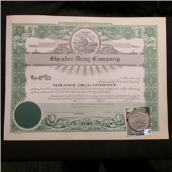 "Unissued early 1900 Stock Certificate ""Shrader Drug Company…Incorporated Under the Laws of Iowa"", ce"