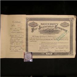 "1932 Stock Certificate ""Security Fire Insurance Company Davenport, Iowa""; & 1923 P U.S. Peace Silver"