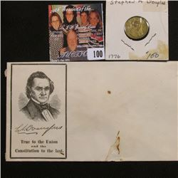 """Original Civil War Cover """"S.A. Douglas True to the Union and the Constution to the last.""""; token """"St"""