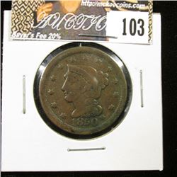 1850 U.S. Large Cent, F-VF, pock mark on obverse rim.