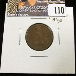 1864 L Indian Head Cent, VG with digs on neck.