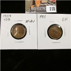 1909 P VDB, EF-AU & 1911 P in EF Lincoln Cents.