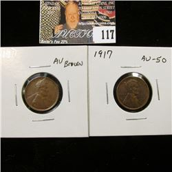1911 P Brown AU & 1917 P Red-brown AU Lincoln Cents.