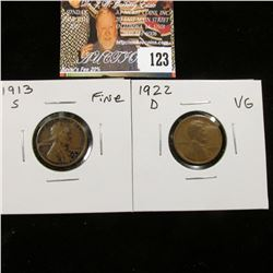 1913 S Fine & 22 D VG Lincoln Cents.