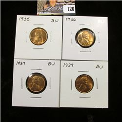 1935 P, 36 P, 37 P, & 39 P Lincoln Cents, all Red Gem BU.
