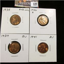1935 P Red-Brown BU, 36 S Red BU, 37 P Red BU, & 41 P Red BU Lincoln Cents.